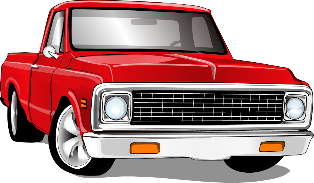 Red vintage car vector material 02 - WeLoveSoLo