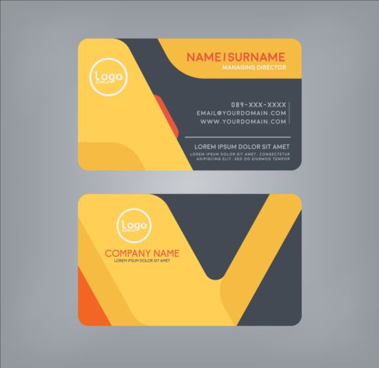 Creative Business Card Black With Yellow Vector 01