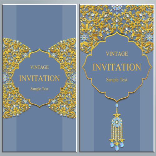 Vintage invitation cards with jewelry decor vector 04 welovesolo vintage jewelry invitation decor cards stopboris Image collections