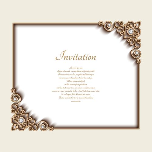 Vintage golden frames with diamond invitation vector 03 WeLoveSoLo