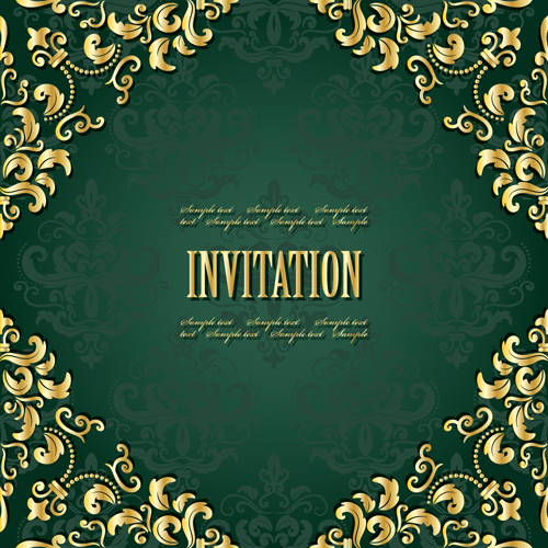 Golden frame with green invitation card vector 04 - WeLoveSoLo