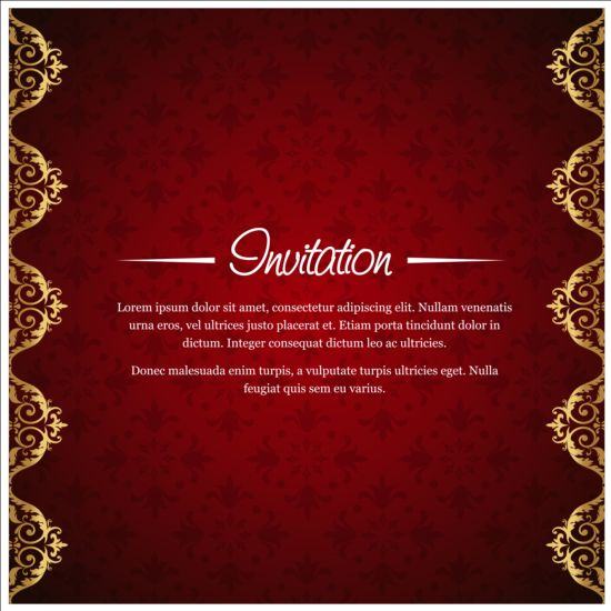 Red with golden invitation background vector 01 welovesolo stopboris Gallery