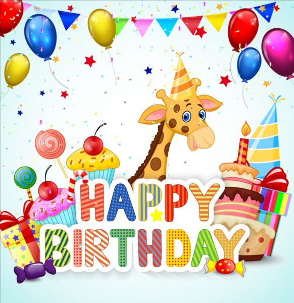 cute creative birthday background animal