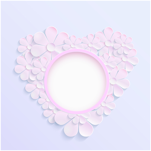 pink paper heart flower background