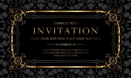 Black and gold vintage style invitation card vector 03 welovesolo vintage style invitation gold card black stopboris Image collections