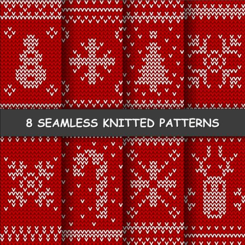 white seamless red pattern knitted