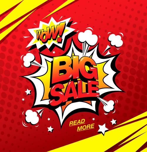 cartoon style big sale template design vector 02 welovesolo