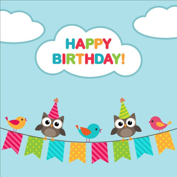 Happy birthday card and cute owls vector 04 welovesolo owls happy cute card birthday bookmarktalkfo Image collections