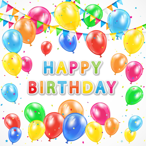 Colorful Balloon And Birthday Card Vector Graphics Welovesolo