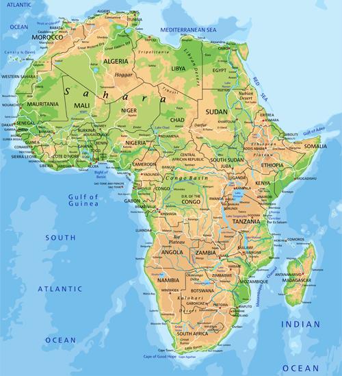 Africa Map 2016 Physical Map   Biofocuscommunicatie
