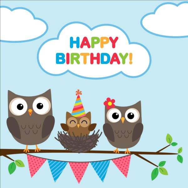 Happy Birthday Card And Cute Owls Vector 01 Welovesolo