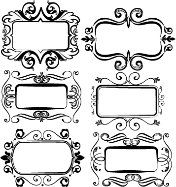 Black vintage frame set vector 01 - WeLoveSoLo