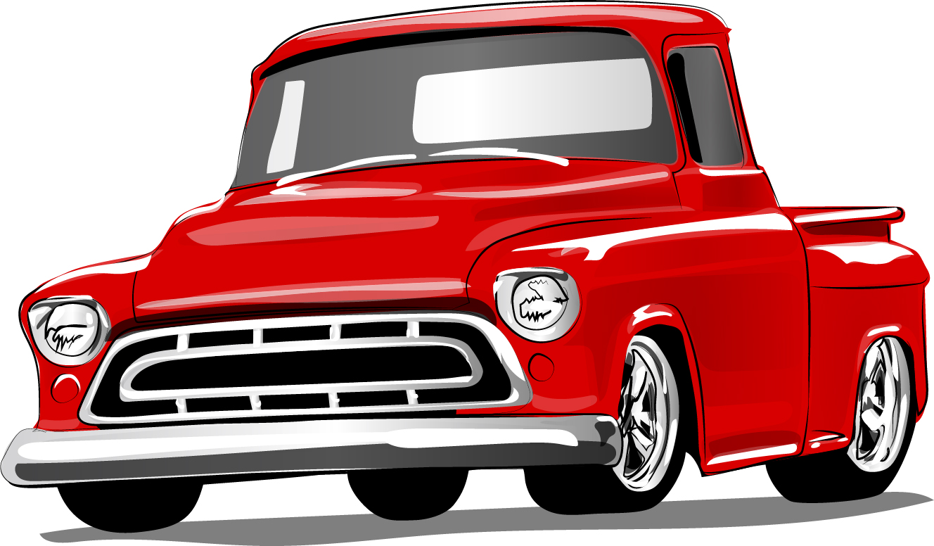 Red vintage car vector material 01 - WeLoveSoLo
