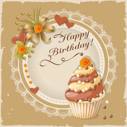 Retro Birthday Card With Cake Vector 01 Welovesolo