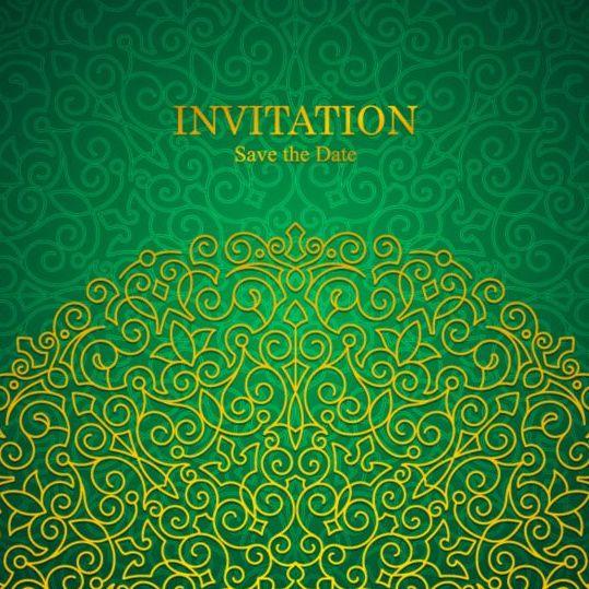 Orante green wedding invitation cards design vector 01 welovesolo stopboris Gallery