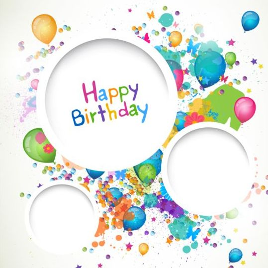 Round frame with Happy birthday background vector - WeLoveSoLo