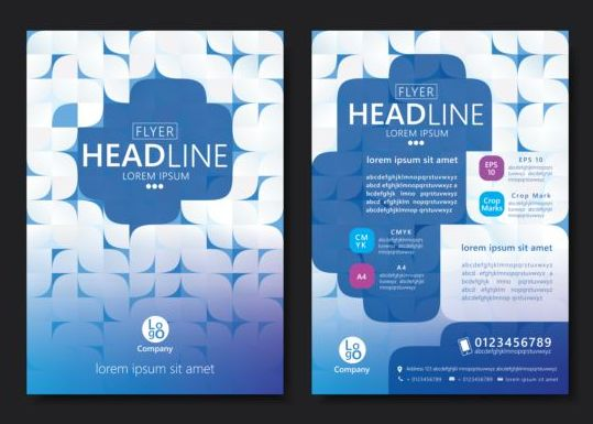 Flyer With Brochure Geometric Pattern Cover Template Vector