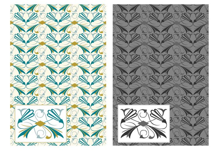 wallpaper vintage victorian texture symbol seamless roaring 20s roaring revival retro pattern ornamental ornament old illustration foliage flower flourishes floral fabric design decorative decor deco creative color background artwork art deco art antique abstract