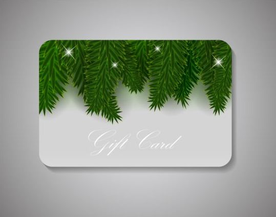 pine leaves with christmas gift card vectors welovesolo