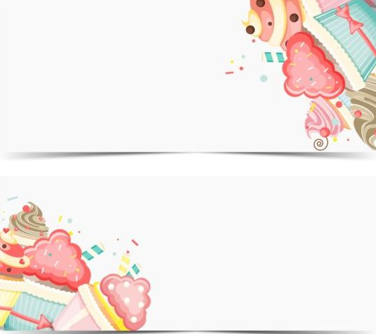 happy cupcake birthday banner