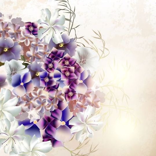 Grunge Background With Purple Flowers Vintage Vector WeLoveSoLo