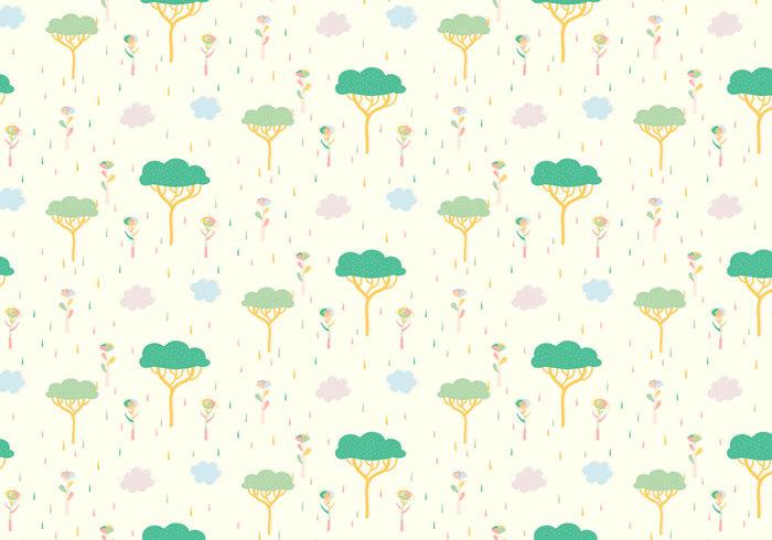 wallpaper vector trendy tree shapes seamless random plant pattern pastel ornamental landscape decorative decoration deco clouds