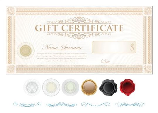 light colored gift certificate template vector 04 welovesolo