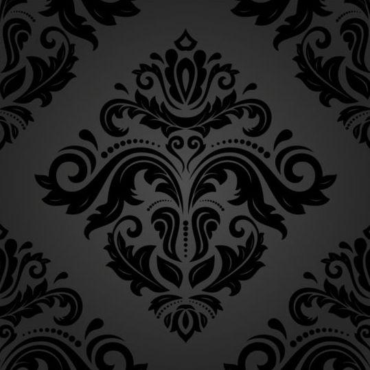 pattern floral decorative black