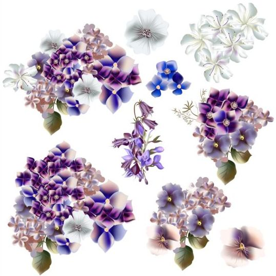Watercolor Flowers Purple And Blue Colors Vector