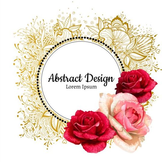 Roses with floral frame vector 03 - WeLoveSoLo