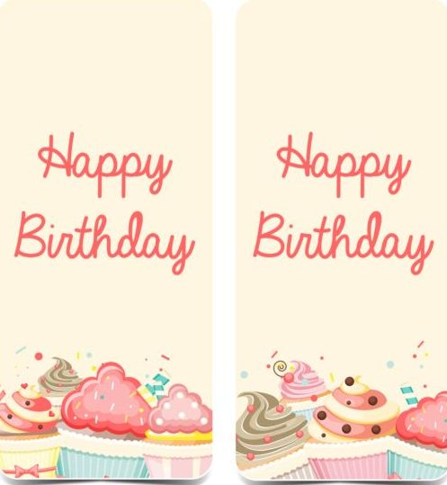 birthday vertical banner with cupcake vector welovesolo