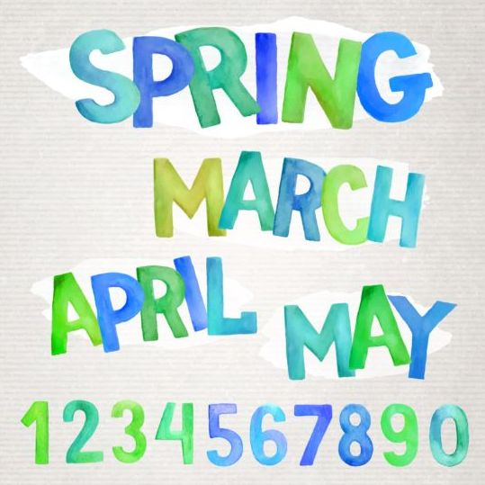 spring watercolor alphabet with numbers vector welovesolo