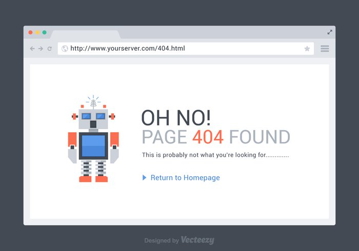 Free 404 Page Found Vector Template - WeLoveSoLo