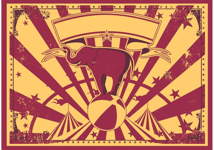 Vintage Circus Tent Ribbon Retro Poster Entertainment Elephant Wallpaper