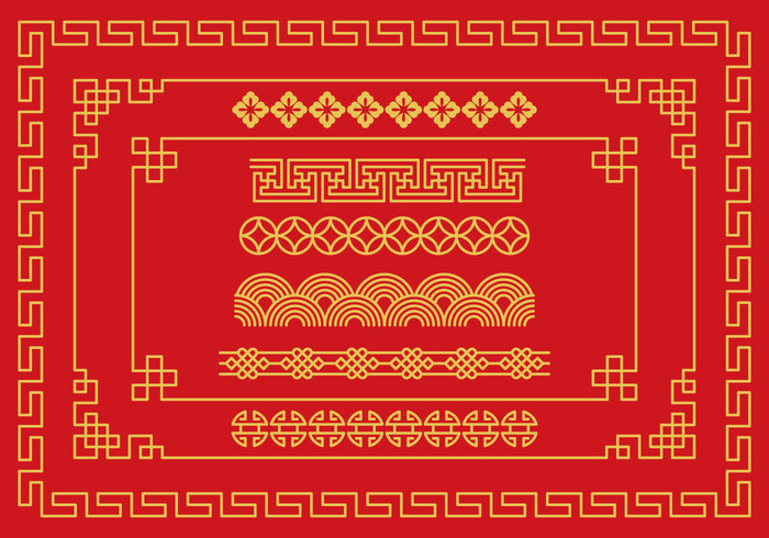 Red asian border
