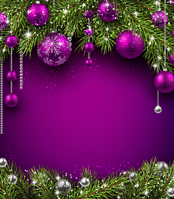 purple christmas decor with background vector welovesolo purple christmas decor with background