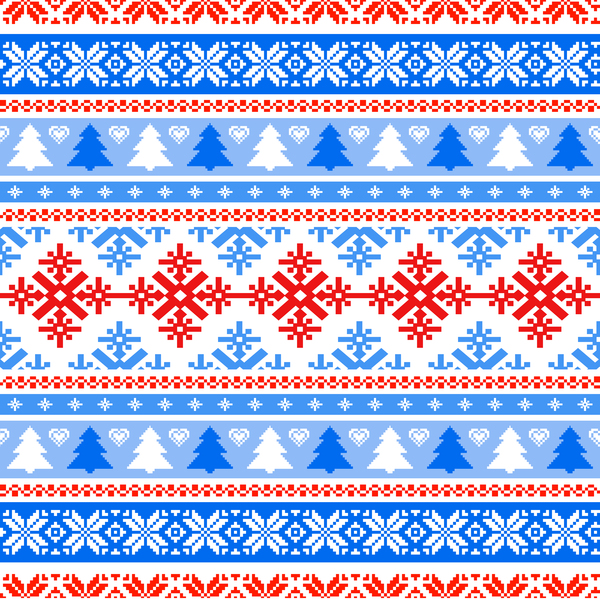 Traditonal seamless Patterns knitted christmas