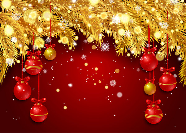 Christmas Background Vector.Red Christmas Background With Golden Pine Needles Vector 01