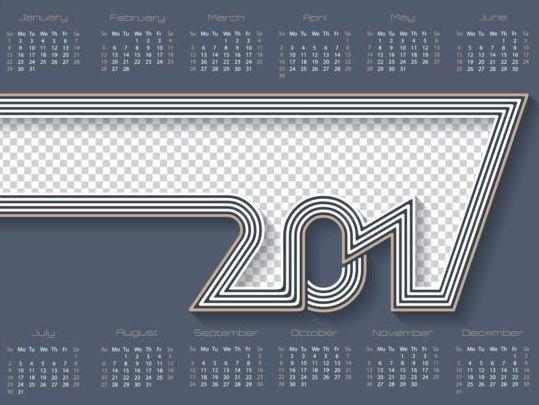 gray calendar 2017