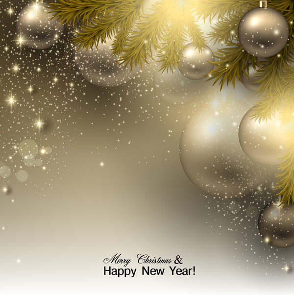 Golden christmas ball with new year greeting card vector welovesolo m4hsunfo