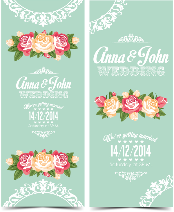 Wedding invitation vertical card with flower vector 01 welovesolo stopboris Image collections