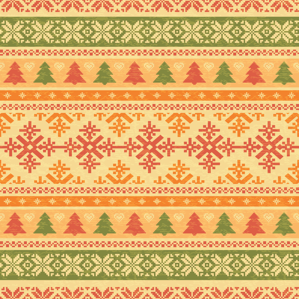 Traditonal seamless Patterns knitted christmas