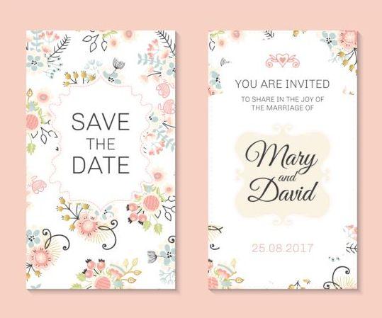 Wedding invitation card template with floral vectors 03 welovesolo stopboris Gallery