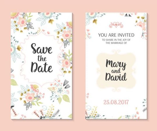 Wedding invitation card template with floral vectors 01 WeLoveSoLo