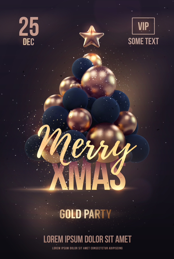 brown xmas party flyer template with balloon christmas tree vector