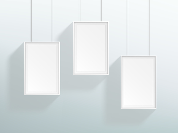 Blank white realistic hanging frames design vector - WeLoveSoLo