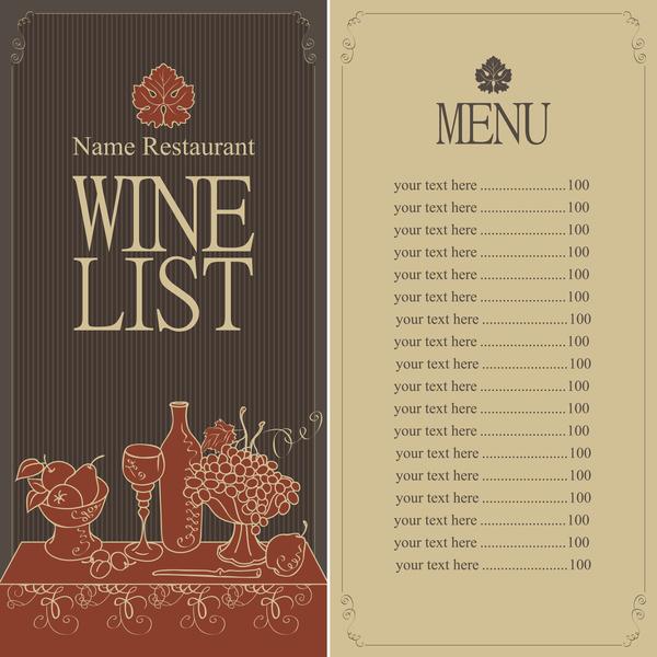 Wine menu list template vector material 04 - WeLoveSoLo