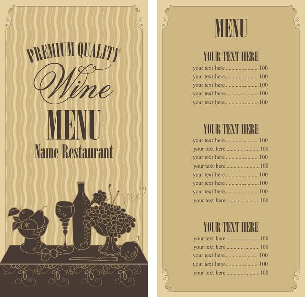 wine menu list template vector material 03 welovesolo