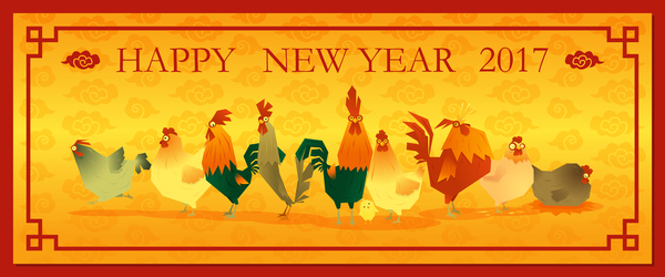 2017 Happy New Year With Chicken Banner Vector 02 Welovesolo