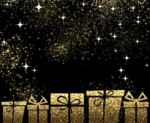 Stars light with golden christmas gift box and black background stars light with golden christmas gift box and black background vector 02 welovesolo negle Images